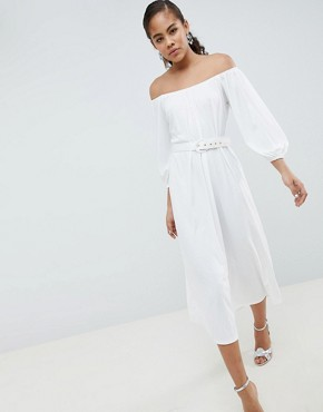 photo Bardot Midi Dress with Belt by ASOS DESIGN Tall, color White - Image 4