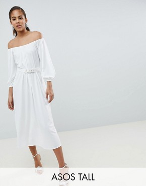 photo Bardot Midi Dress with Belt by ASOS DESIGN Tall, color White - Image 1