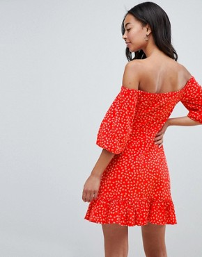 photo Off Shoulder Mini Sundress with Bubble Sleeve in Ditsy Print by ASOS DESIGN Tall, color Multi - Image 2