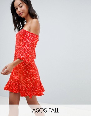 photo Off Shoulder Mini Sundress with Bubble Sleeve in Ditsy Print by ASOS DESIGN Tall, color Multi - Image 1
