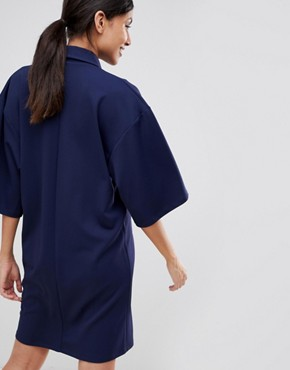 photo Oversized Tux Dress by ASOS DESIGN Tall, color Navy - Image 2