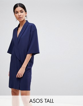 photo Oversized Tux Dress by ASOS DESIGN Tall, color Navy - Image 1