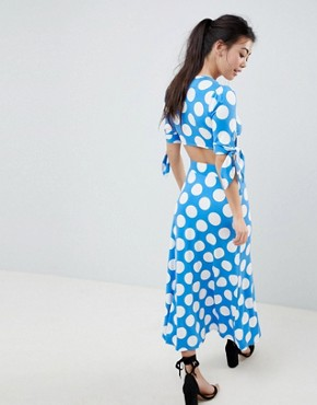 photo Wrap Front Tea Dress with Bow Sleeve in Polka Dot by ASOS DESIGN Petite, color Multi - Image 2