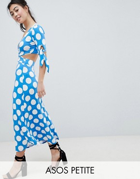 photo Wrap Front Tea Dress with Bow Sleeve in Polka Dot by ASOS DESIGN Petite, color Multi - Image 1