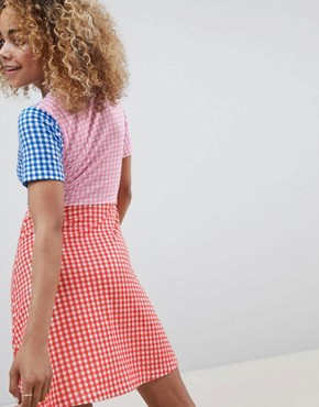photo Mini Skater Dress with Tie Front in Colour Block Gingham by ASOS DESIGN Petite, color Multi - Image 2