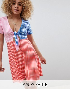 photo Mini Skater Dress with Tie Front in Colour Block Gingham by ASOS DESIGN Petite, color Multi - Image 1