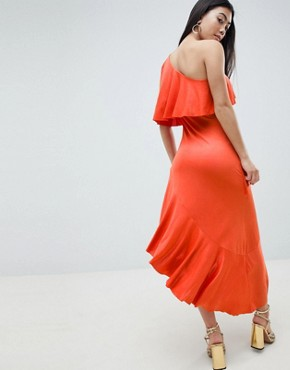 photo One Shoulder Drapey Tiered Midi Dress by ASOS DESIGN Petite, color Burnt Orange - Image 2