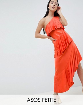 photo One Shoulder Drapey Tiered Midi Dress by ASOS DESIGN Petite, color Burnt Orange - Image 1