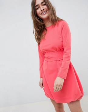 photo Mini Shift Dress with Gathered Hem and Wrap Belt by ASOS DESIGN Petite, color Coral - Image 2