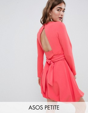 photo Mini Shift Dress with Gathered Hem and Wrap Belt by ASOS DESIGN Petite, color Coral - Image 1