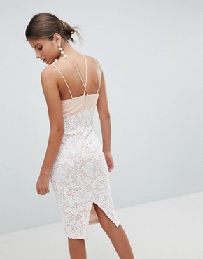 photo Lace Cross Strap Midi Dress by Girl in Mind, color Blush - Image 2