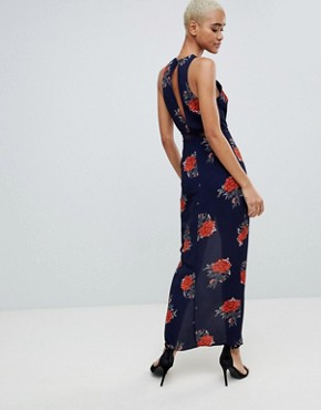 photo Floral Open Back Wrap Maxi Dress by Girl in Mind, color Navy - Image 2