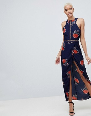 photo Floral Open Back Wrap Maxi Dress by Girl in Mind, color Navy - Image 1