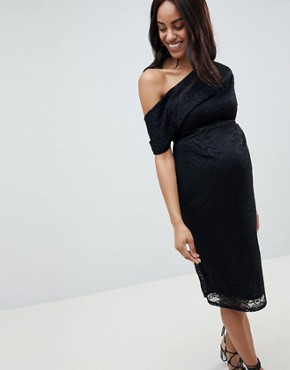 photo Maternity Pleated Shoulder Lace Midi Dress by ASOS DESIGN, color Black - Image 1