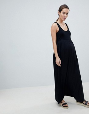 photo Maternity Mixed Fabric Strappy Maxi Dress by ASOS DESIGN, color Black - Image 4