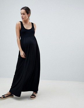 photo Maternity Mixed Fabric Strappy Maxi Dress by ASOS DESIGN, color Black - Image 1