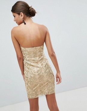photo Bandeau Embroidered Mini Dress by Girl in Mind, color Gold - Image 2
