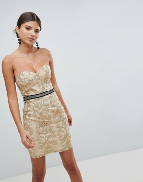 photo Bandeau Embroidered Mini Dress by Girl in Mind, color Gold - Image 1