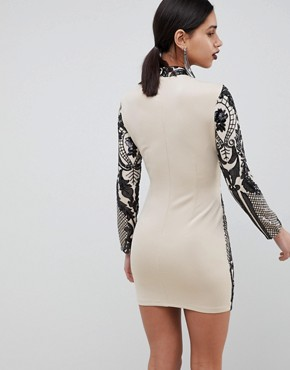 photo Long Sleeve Sequin Mini Dress by Girl in Mind, color Champagne - Image 2
