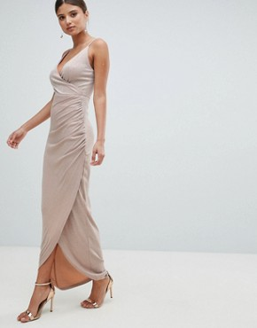 photo Wrap Evening Maxi Dress by Girl in Mind, color Pink - Image 1