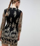 photo 3/4 Sleeve Embroidered Dress by Girl in Mind, color Black - Image 2