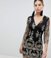photo 3/4 Sleeve Embroidered Dress by Girl in Mind, color Black - Image 1