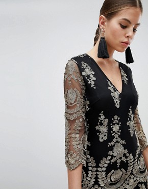 photo 3/4 Sleeve Embroidered Dress by Girl in Mind, color Black - Image 3