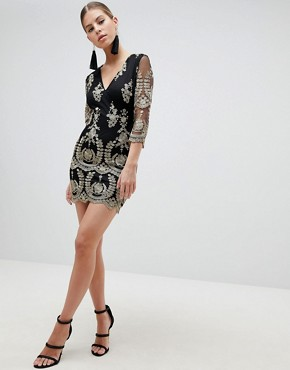 photo 3/4 Sleeve Embroidered Dress by Girl in Mind, color Black - Image 4