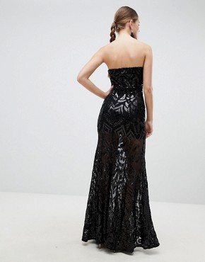 photo Sequin Strapless Evening Maxi Dress by Girl in Mind, color Black - Image 2