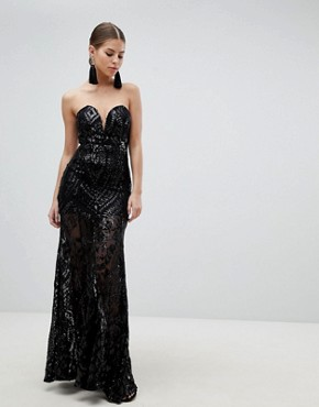 photo Sequin Strapless Evening Maxi Dress by Girl in Mind, color Black - Image 1