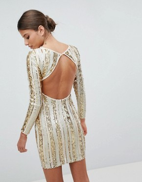 photo Open Back Sequin Mini Dress by Girl in Mind, color Gold - Image 2