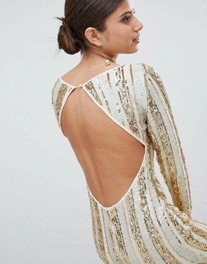 photo Open Back Sequin Mini Dress by Girl in Mind, color Gold - Image 3