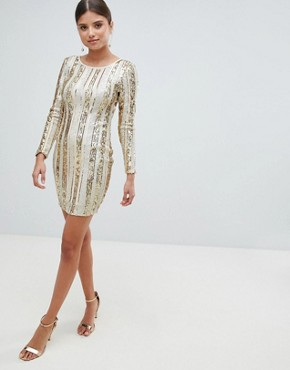 photo Open Back Sequin Mini Dress by Girl in Mind, color Gold - Image 1