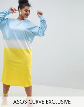 photo Oversize Midi Sweat Dress in Dip Dye Print by ASOS DESIGN Curve, color Multi - Image 1