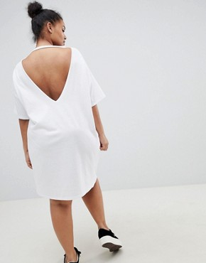 photo Whitney V-Back T-Shirt Dress by ASOS DESIGN Curve, color White - Image 2