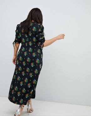 photo City Maxi Tea Dress with Split in Black Floral by ASOS DESIGN Curve, color Multi - Image 2
