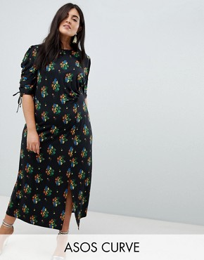 photo City Maxi Tea Dress with Split in Black Floral by ASOS DESIGN Curve, color Multi - Image 1