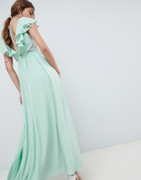 photo Frill Wrap Lace Insert Maxi Dress by ASOS DESIGN, color Mint - Image 2