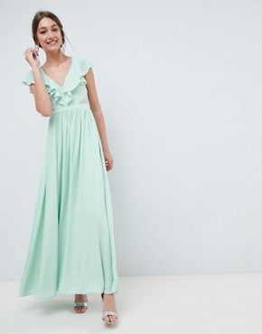 photo Frill Wrap Lace Insert Maxi Dress by ASOS DESIGN, color Mint - Image 1