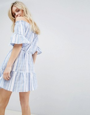 photo Stripe Bardot Sundress by New Look, color Blue - Image 2