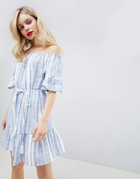photo Stripe Bardot Sundress by New Look, color Blue - Image 1
