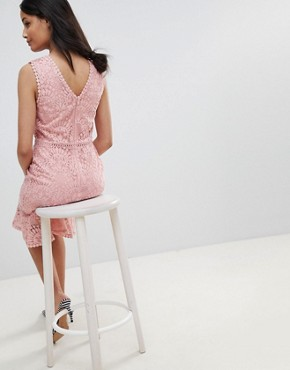 photo Lace Crochet Trim Dress by New Look, color Nude - Image 2