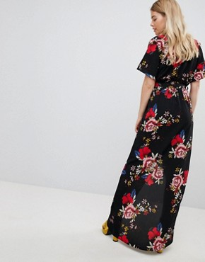 photo Printed Wrap Short Sleeve Midi Dress by New Look, color Black Pattern - Image 2