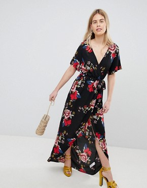photo Printed Wrap Short Sleeve Midi Dress by New Look, color Black Pattern - Image 1