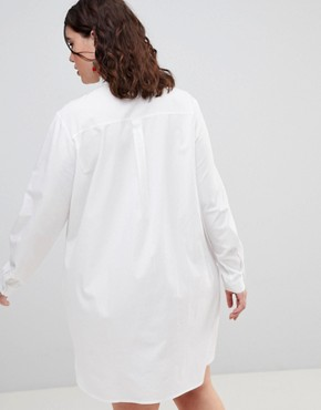 photo Cotton Shirt Dress with Embroidery by ASOS DESIGN Curve, color White - Image 2