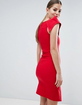 photo Double Split Pencil Dress with Exaggerated Shoulders by Vesper, color Red - Image 2