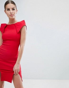 photo Double Split Pencil Dress with Exaggerated Shoulders by Vesper, color Red - Image 1
