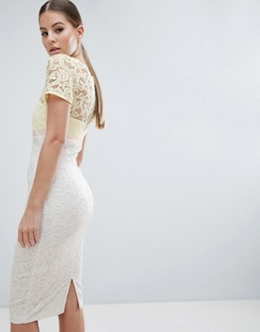 photo 2 in 1 Lace Pencil Dress by Vesper, color Yellow/White - Image 2