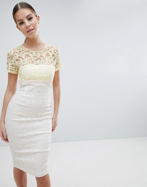 photo 2 in 1 Lace Pencil Dress by Vesper, color Yellow/White - Image 1