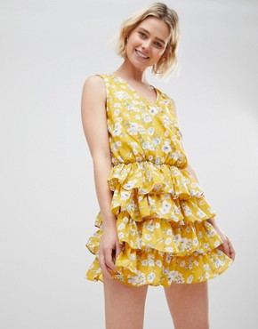 photo Yellow Floral Dress by Unique 21, color Yellow Floral - Image 1